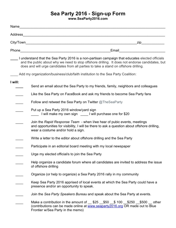 Sea Party 2016 Sign-up Form